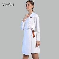 Viaoli Long Sleeve Women Medical Coat Nurse Services Uniform Medical Scrub Lace Clothes White Lab Coat