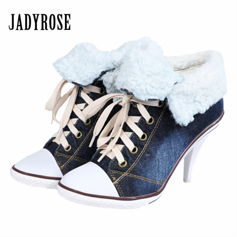 Jady Rose 2018 New Women Winter Warm Denim Boots Female Lace Up Ankle Boots High Heel Fur Snow Botas Mujer Women Pumps Stiletto classic women winter boots suede ankle snow boots female warm fur plush insole high quality botas mujer lace up footwear b901w