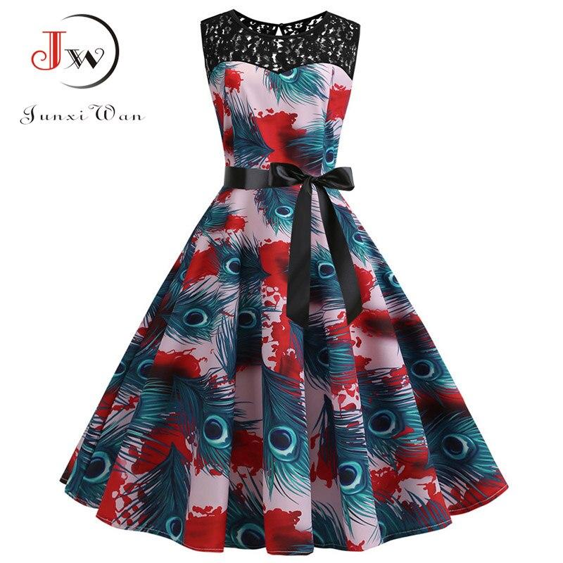 Lace Patchwork Floral Print Women Summer Dress Hepburn 50s 60s Elegant Vintage Dress Office Ladies A-Line Party Dresses Belt 4