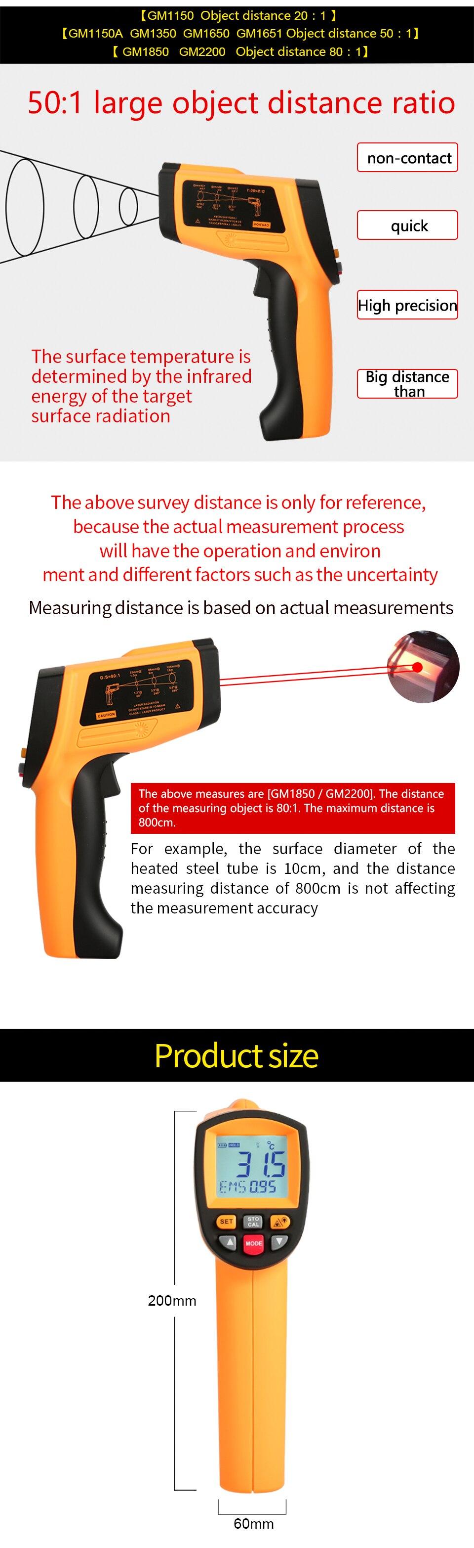 Бесконтактный ИК цифровой инфракрасный термометр с лазером GM1650-50~ 1650 C