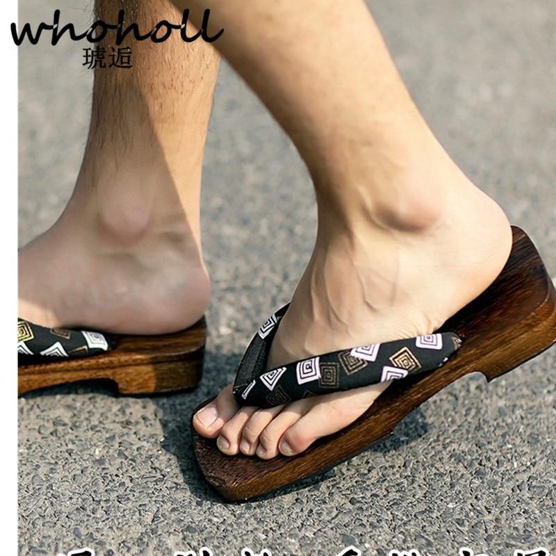 Schuhe Flip-flops Whoholl Geta Mann Sandalen Anti Slip Flache Plattform Sandalen Flip-flops Holz Japanischen Geta Clogs Hausschuhe Indoor Hause Hausschuhe Feine Verarbeitung