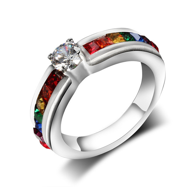 Female Titanium Steel Jewelry Zircon Rainbow Stainless Steel Ring