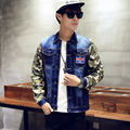Весна осень джинсовые куртки для мужчин хип-хоп куртка мужской мода ветровка мужчин лоскутное камуфляжной куртки марка большой