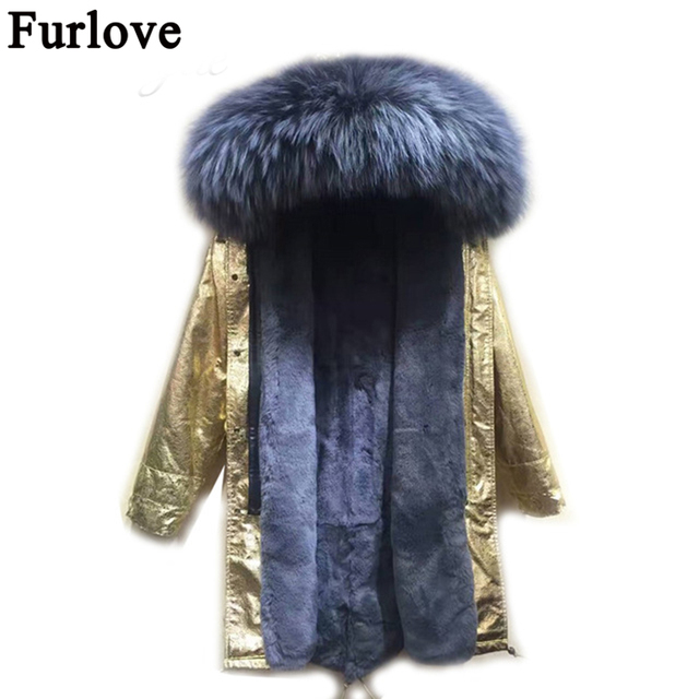620fac4fc7297 Furlove New Fashion Warm Women Long winter Jacket Fur Collar Parka golden  long coat with fur lined Winter Coat Factory Price