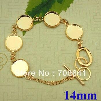 Blank Bracelet Settings 14mm Inner Round Bezel Bases Cabochon Pad Metal Brass Link cuff Bangle Bracelet Findings DIY Golden tone