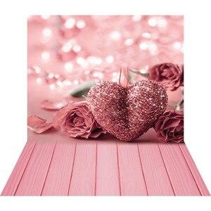 Image 1 - ピンクローズハート 3D 写真撮影フォトスタジオの背景バレンタイン写真の背景ビニール背景ベビーシャワー photophone