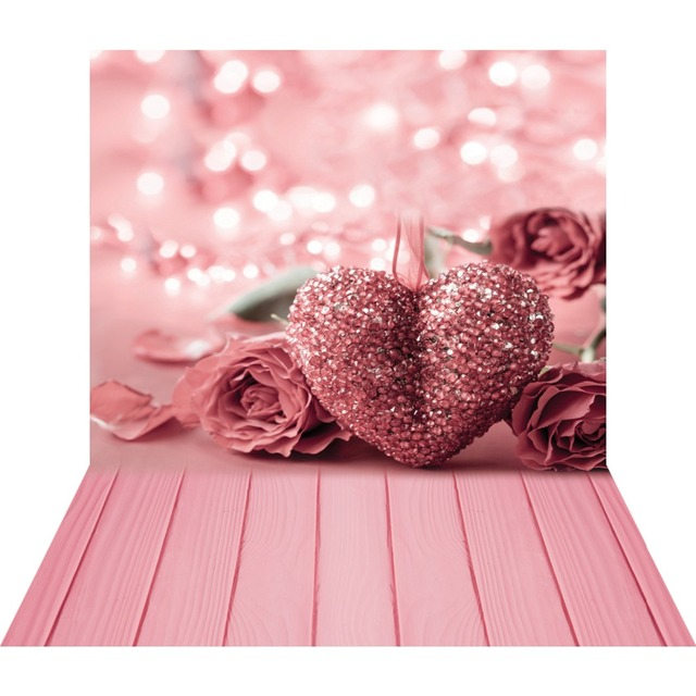 ピンクローズハート 3D 写真撮影フォトスタジオの背景バレンタイン写真の背景ビニール背景ベビーシャワー photophone