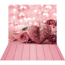 Pink Rose Heart 3D Photography Background for Photo Studio Valentine Photo Backgrounds Vinyl Backdrops Baby Shower Photophone