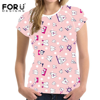 FORUDESIGNS Dentistry Print Women Short Sleeve Tshirts Summer Breathable Female Tee Shirts Casual Round Neck Tops Shirts Clothes цена 2017