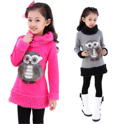 V-TREE Autumn Winter Girls Dress Velvet Fleece School Teeangers Girls Dress Fashion 3D Owl Warm Clothes For Girl Kids Clothing