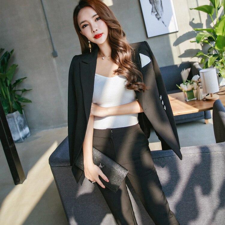 Formelle 2018 De Deux Femmes Pantalons Mince Haute Noir Pièces Uniforme Vêtements Bureau D'affaires Casual Pantalon Qualité Costumes Travail Ensembles Rxw7vBR