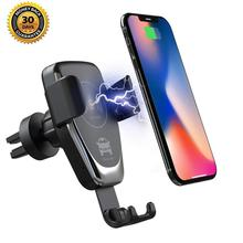 Henzarne 10W Wireless Car Charger Automatic Clamping Fast Charging Phone Holder Mount in for iPhone xr Huawei Samsung