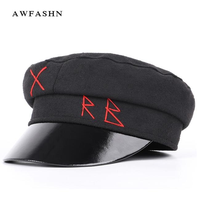 2018 moda damas Casual militares sombreros Otoño Invierno lana plana sombrero  boina Unisex Newsboy Cap mujer 5e6e4add396