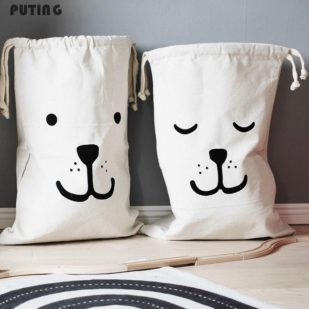Zakka Große Cartoon Lagerung Taschen Kinder Baby Spielen Matte Spielzeug Kleidung Organizer Kinder Wäsche Tasche Leinwand Einfache Wohnkultur
