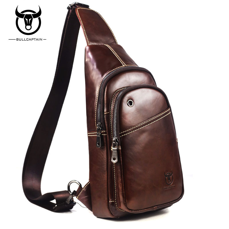 BULL CAPTAIN Fashion Genuine Leather Crossbody Bags men Brand Small Male Shoulder Bag casual music chest