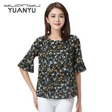 YUANYU New Female Products Flower Printed Chiffon Shirt Summer
