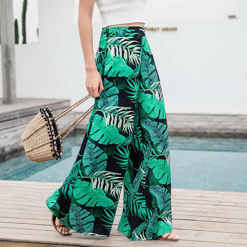 2018 Women's Summer Casual Retro Print Bohemian Wide Leg Pants High Waist Wide Legs Trousers Skirts Mopping Beach Holiday Pants