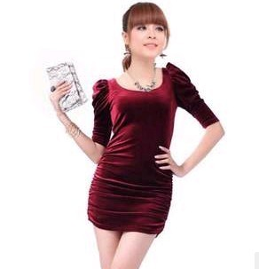 2014 real solid half zijde nieuwigheid jurken vestidos lente nieuwe collectie vrouwen slanke heup sexy korte mouwen fluwelen een stuk