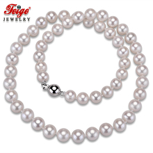 High Quality White Round Shape Natural Pearl Necklaces for Women Wedding Jewelry 8-9MM Freshwater Pearls Chorker Necklace FEIGE jyx round long pearl necklaces natural white 8 9mm freshwater pearl chains endless long sweater necklace