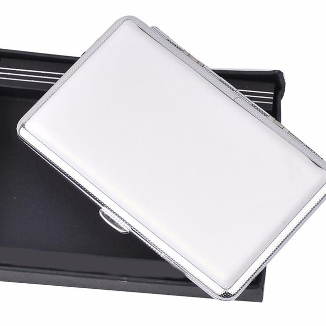 Women Lady Thin Slim Faux Leather Wiredrawing 14 Cigarette Case Box Holder White Women Cigarette Case Holder XN338