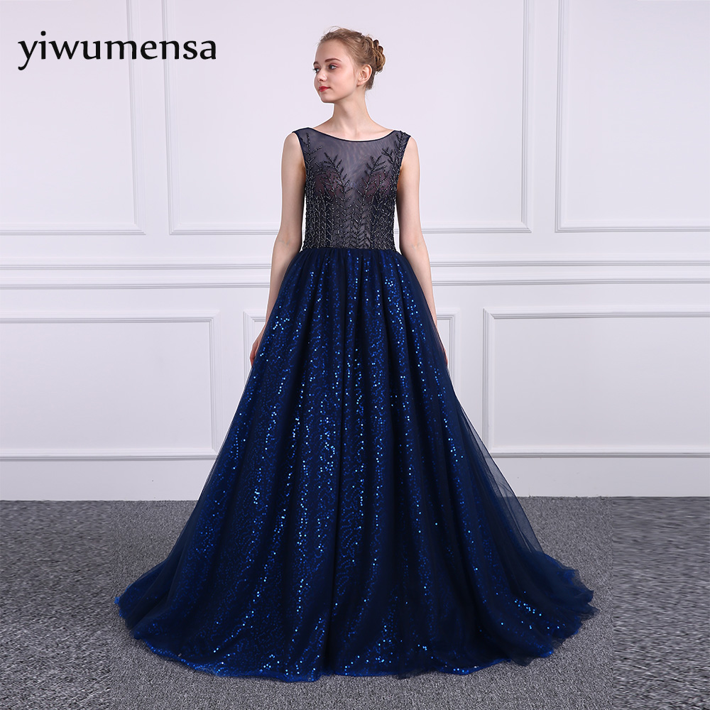 yiwumensa Illusion sexy Royal Blue A line   Prom     dress   2017 vestido de festa   Prom     dresses   Elegant Sleeveless Bling Bling Gowns