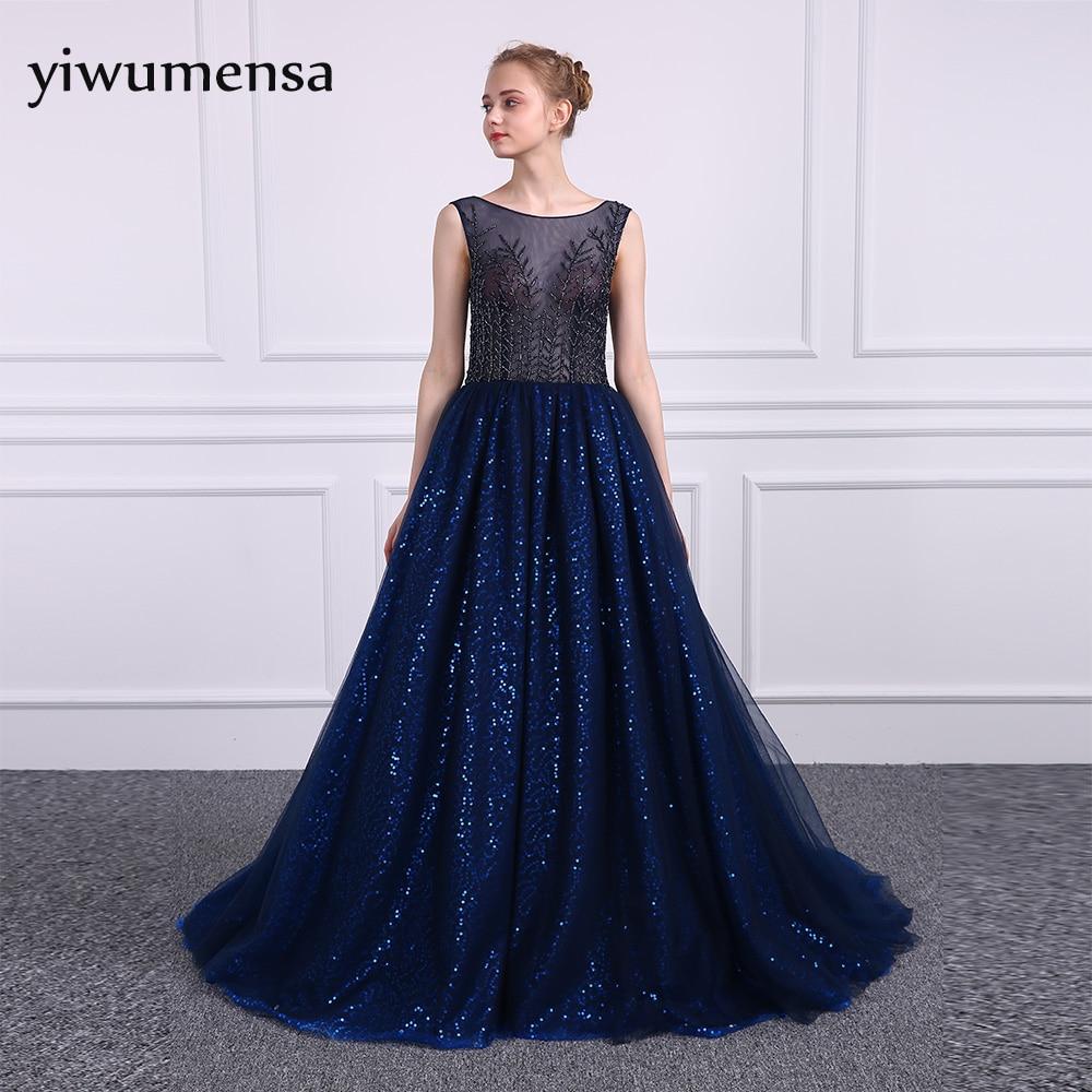 yiwumensa Illusion sexy Royal Blue A line   Prom     dress   2017 vestido de festa   Prom     dresses   Elegant Sleeveless Bling Bling Gowns