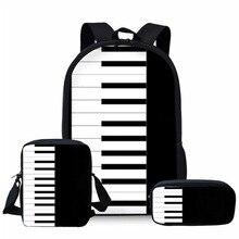 THIKIN Piano Print Children School Bags for Kids Shoulder Bagpack Teenager Book Music Note Girls Primary Bag Custom