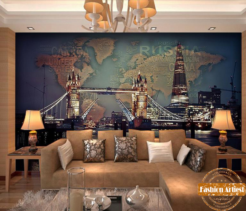 Custom modern night view wallpaper mural london tower bridge world custom modern night view wallpaper mural london tower bridge world map tv sofa bedroom living room cafe restaurant background in wallpapers from home gumiabroncs Gallery