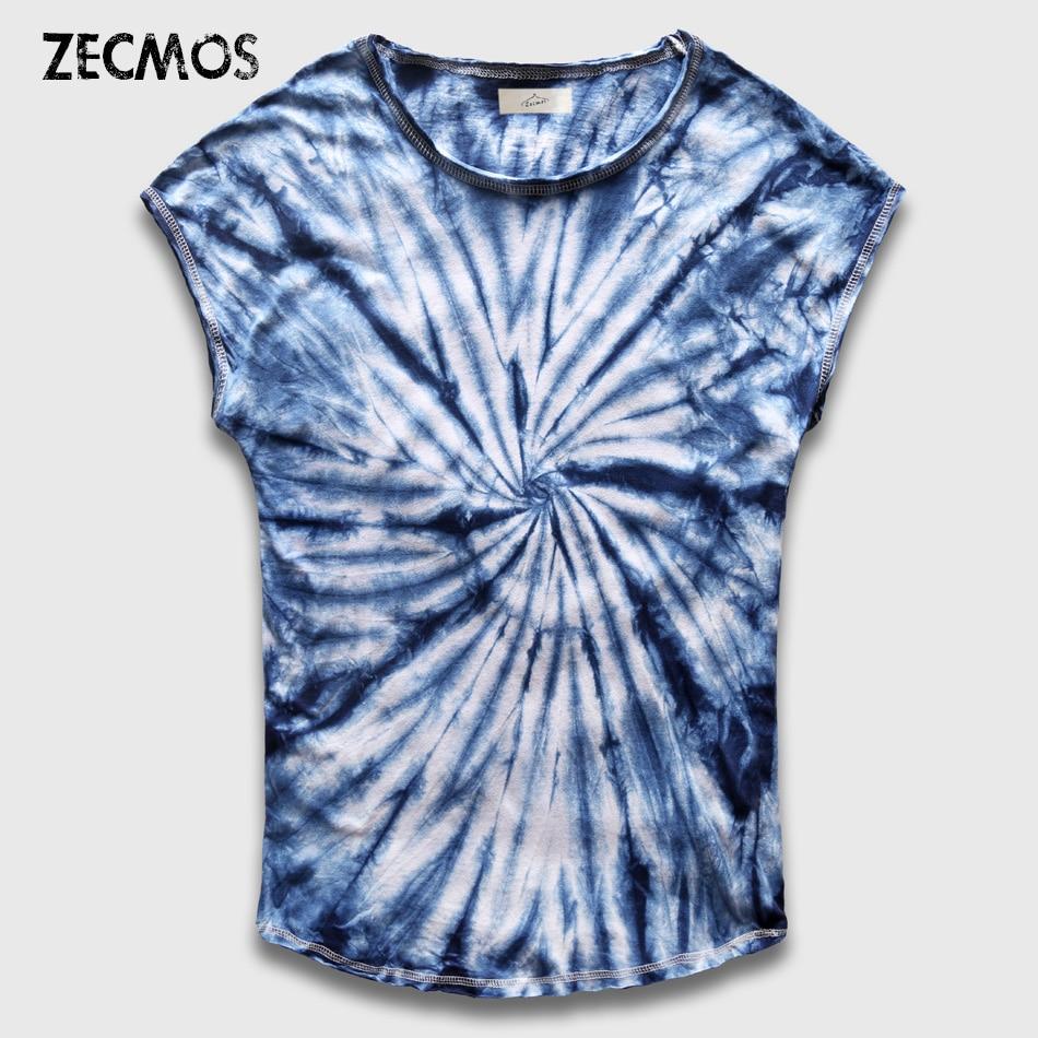 Zecmos 패션 남자 넥타이 염료 티셔츠 남성 그라데이션 타이 염료 T 셔츠 Vintage Hip Hop Clothing Mens 티셔츠 Streetwear