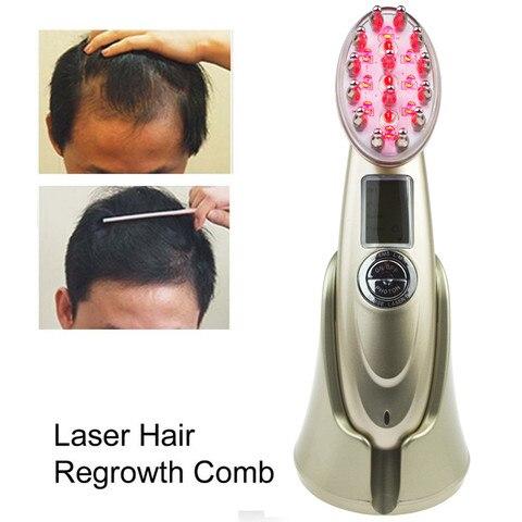 Usb Cobrando Luz Vermelha rf Fóton Ems Vibrando Pente Laser Cabelo Rebrota Tratamento Estimular Massagem Escova Pente Beleza