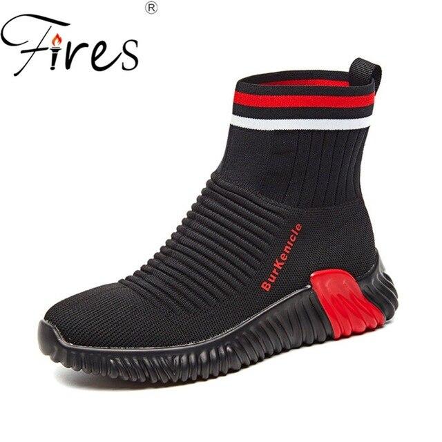 Kebakaran Wanita Running Sepatu Mesh Bernapas Sepatu Olahraga Hitam Tinggi  Atas Pelatihan Sepatu Wanita Zapatillas Keluar a8cebb81d4