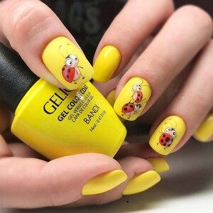 Image 2 - Autocollants pour ongles 3D, 1 feuille dautocollants, Super mignons, autocollants à motifs hérisson, girafe, coccinelle pour décoration des ongles