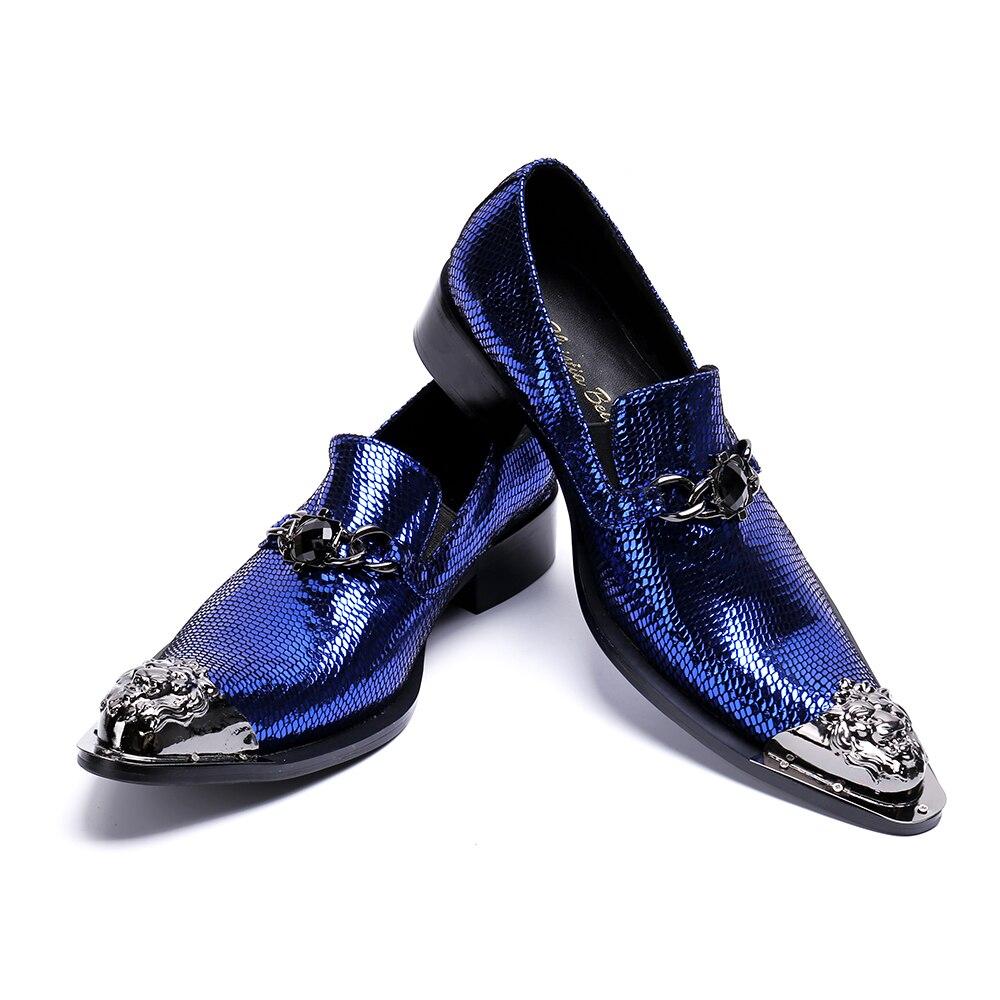 Sequin Véritable En Bella Robe Bleu D'affaires Christia Mariage Appartements De Chaussures Grande Italien Cuir Formelle Luxe Hommes Taille QCrdshtx