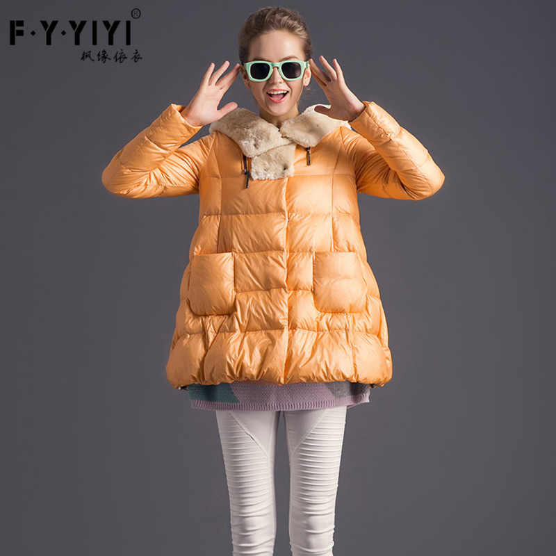 Luxury in the A version with cute plush hooded frivolous fashion han edition really long white duck down coats for women