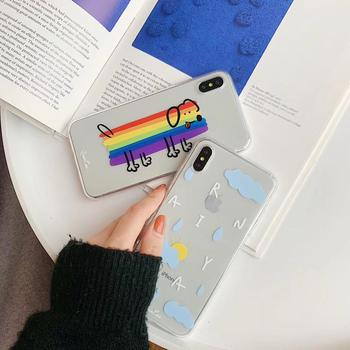 TPU Transparent Dog With Rainbow Body Cloudy Rainy Day Adorable Weather Phone Case For iPhone 6/S 7 8 Plus X XR XS XSMAX image