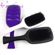 ФОТО hot tangle hair brushes combs 4 color options for hair extensions and fashion hair brushes comb magic detangling handle tangle