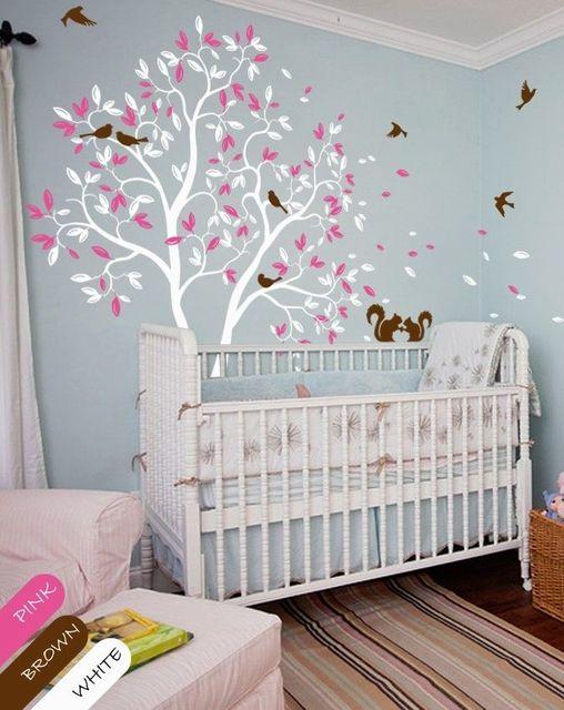 Superieur Arbre Blanc Sticker Mural Rose Feuilles écureuil Pépinière Mur Autocollant  Enfants Chambre 210 Cm X 143