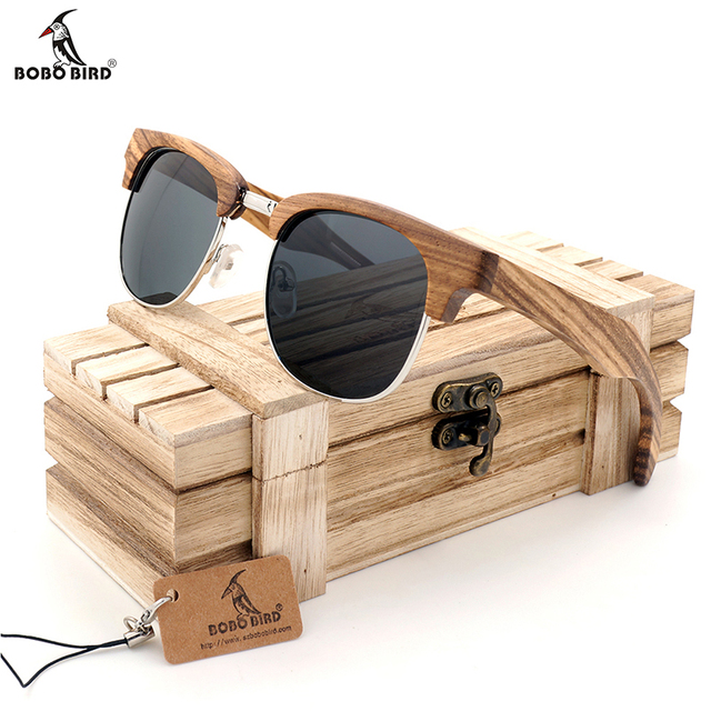 BOBO BIRD G025-2 Semi Enclosure Design Unisex Zebra Stripe Of The Luxury Brand Sunglasses Gray Poliaried Lens Mens Sun Glasses