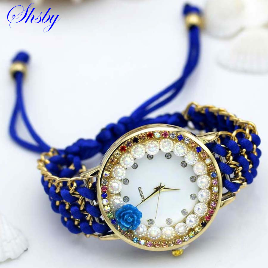 shsby new Ladies flower hand-knitted wristwatch rose women dress watch Color sparkling rhinestone fabric clock sweet girl watch shsby ladies butterfly orchid flower cloth wristwatch fashion women dress watch silky chiffon fabric watch bracelet watch