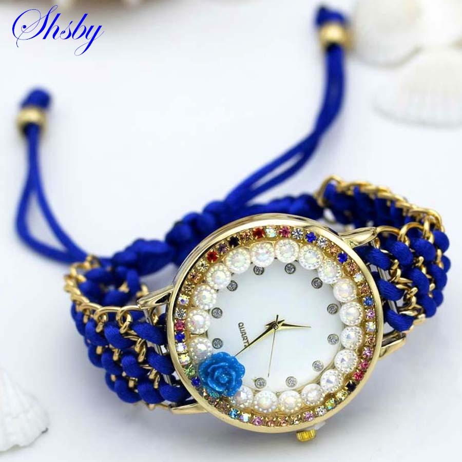 Shsby ใหม่สุภาพสตรีดอกไม้นาฬิกาข้อมือที่ถักด้วยมือเพิ่มขึ้นผู้หญิงแต่งตัวดูสีประกาย rhinestone ผ้านาฬิกาหวานสาวนาฬิกา