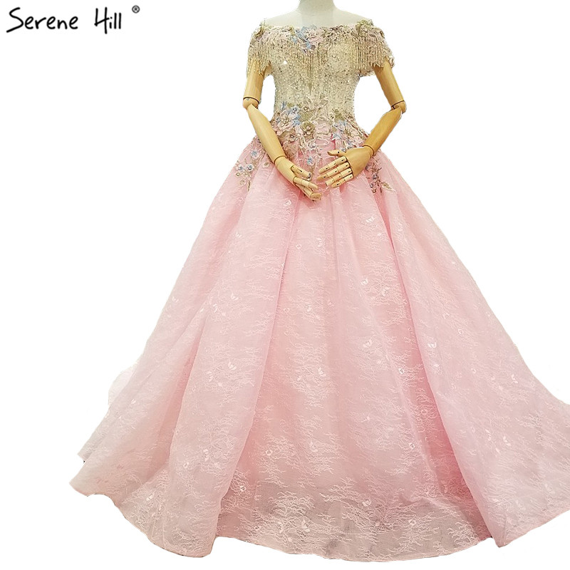 Pink Handmade Flowers Tassel Fashion Wedding Dresses 2019