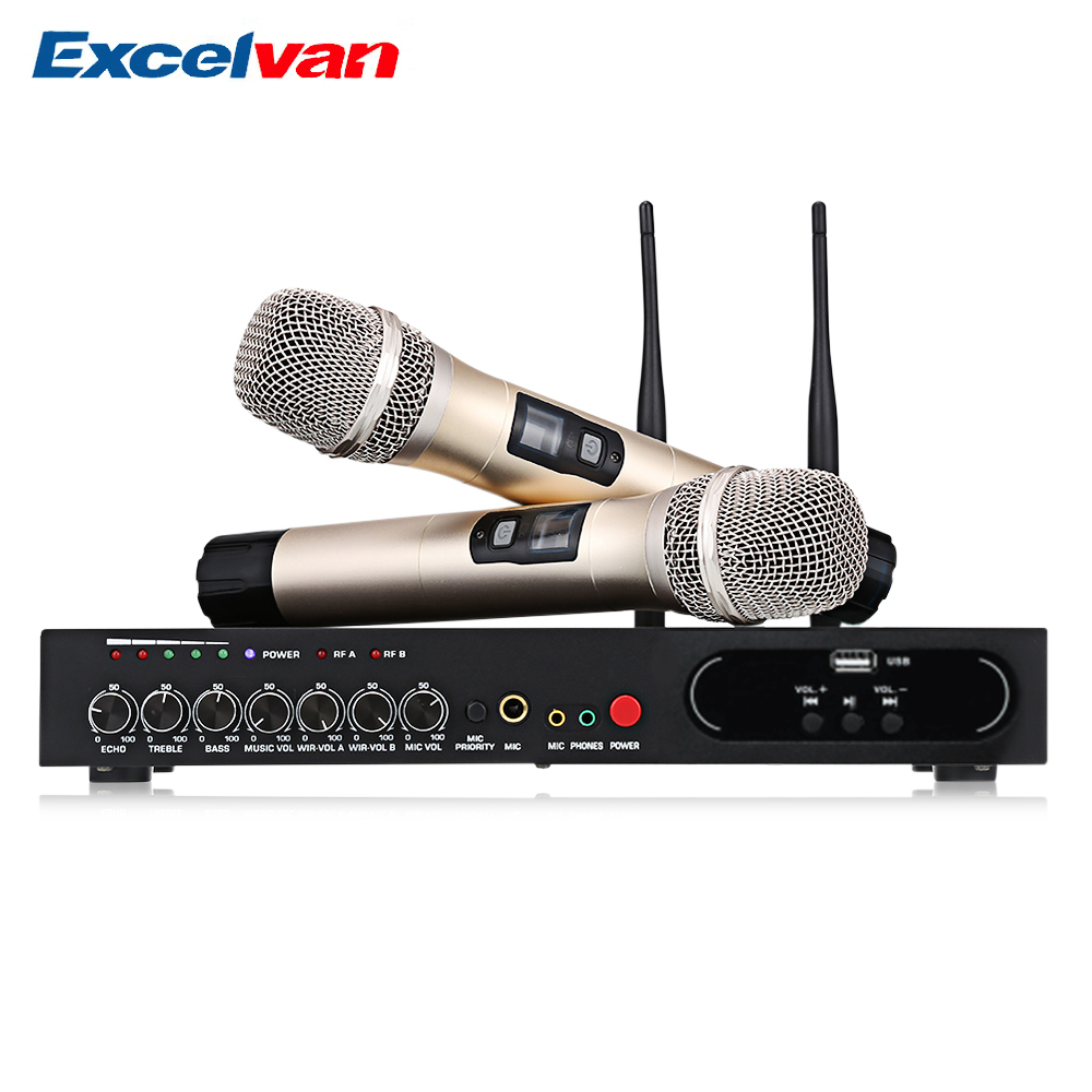 Excelvan MU-6S Wireless Handheld Microphone Dual Channel UHF System With Fixed Frequencies Bluetooth Dynamic Cartridge Effect