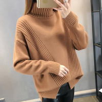 Women sweater turtleneck 2019 new autumn and winter fashion sweet loose beautiful female sweater teenager knitted pullover A26