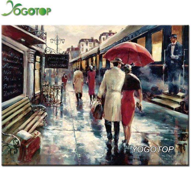Diy diamonds embroidery lovers rain square diamond painting cross diy diamonds embroidery lovers rain square diamond painting cross stitch kits full diamond mosaic wedding decoration junglespirit Images