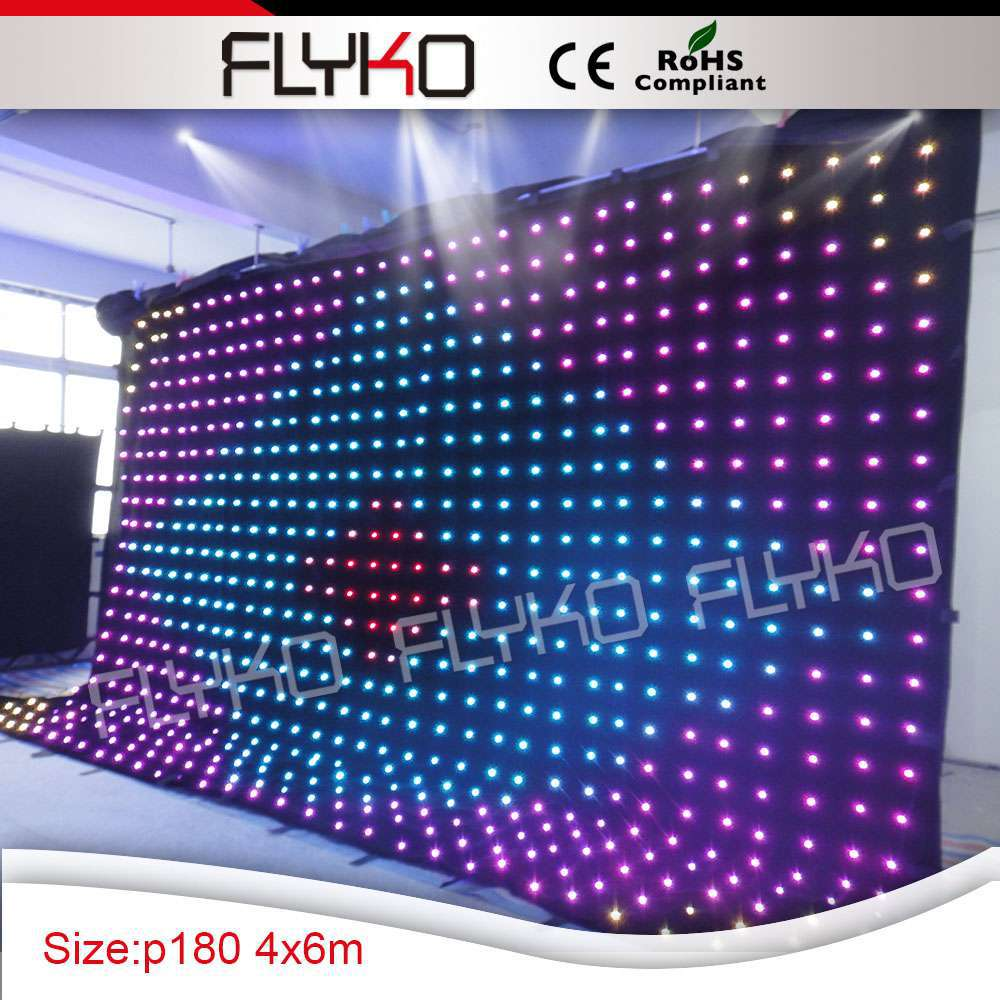 Popular hot sale RGB 704pcs led lighting stage backdrop cloth curtain with SD controller