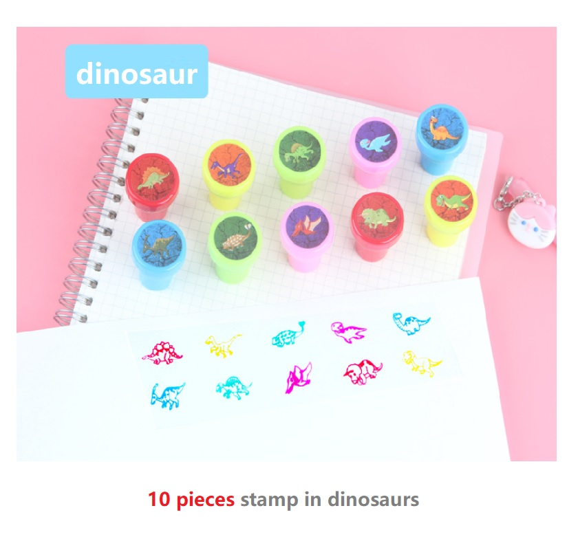 10pcs/Set Children Toy Stamps Smile Praise Cartoon Dinosaur Animals Fruits Kids Seal Scrapbooking Stamper DIY Maths Stamper Toys