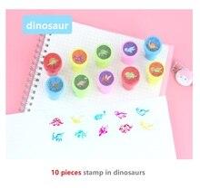 10pcs Set Children Toy Stamps smile praise Cartoon Dinosaur Animals Fruits Kids Seal Scrapbooking Stamper DIY