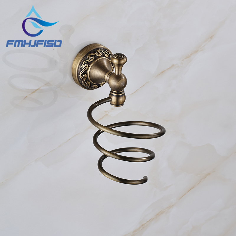 Antique Brass Free Shipping Bathroom Hair Dryer Holder Wall Mounted High Quality free shipping high quality bathroom kitchen washroom wall door back single hook antique brass cloths cap bag key hooks 239