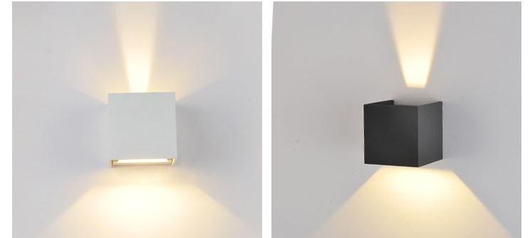 lmparas de pared 6 w led aplique de pared al aire libre impermeable moderna led pared luz blanco clido 2 unids cob led chips pared lmpara montada en led - Lampara Pared