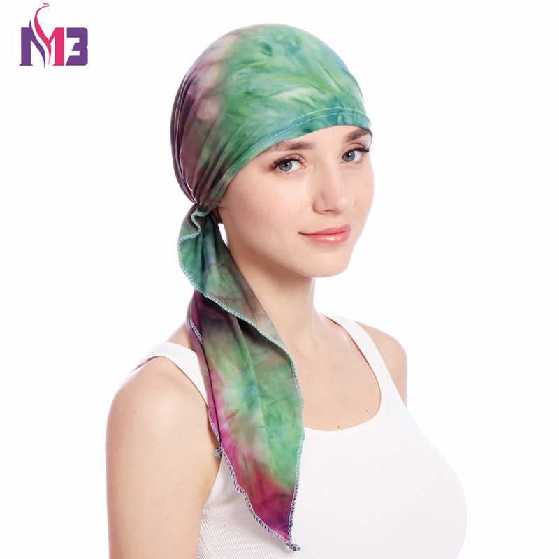 Fashion Women Cotton Print Turban Bandanas Stretchy   Headwear   Chemo Hat Long Tie Head Cover Hair Accessories Wigs Cap